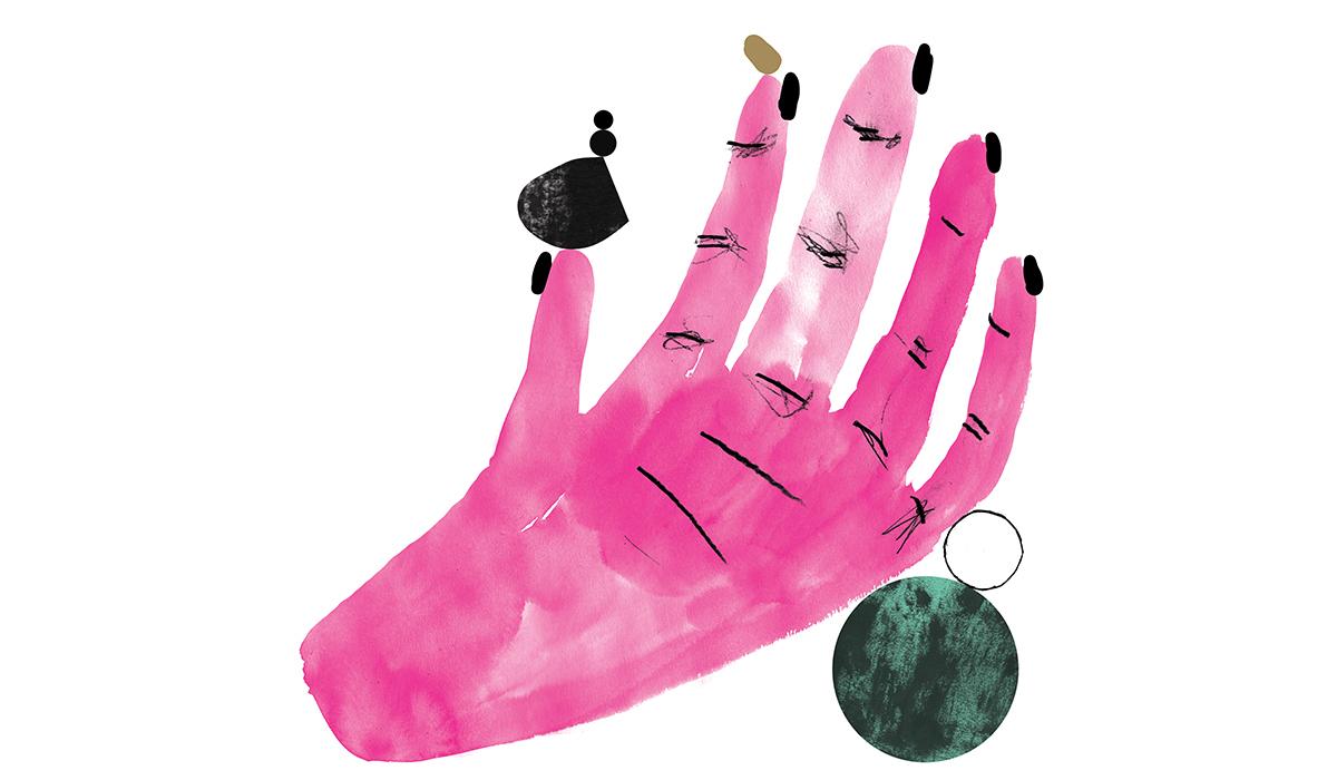 Illustrasjon av en rosa hånd med sorte negler som balanserer små runde sirkler på toppen av fingrene.