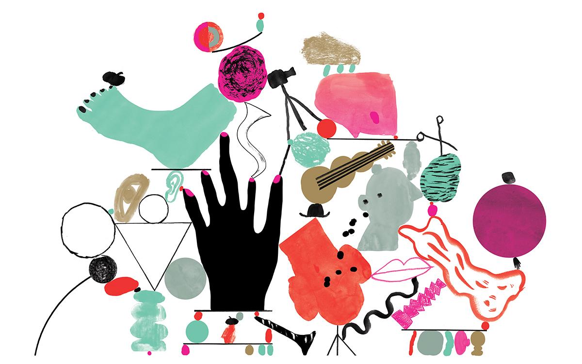 Illustrasjon med abstraherte figurer, blant annet en fot, en gitar, en stor hånd, et filmkamera, geometriske figurer, en hatt og en saks. Alle plassert oppå hverandre på en måte som ser ut som de balanserer oppå hverandre i et skjørt byggverk.