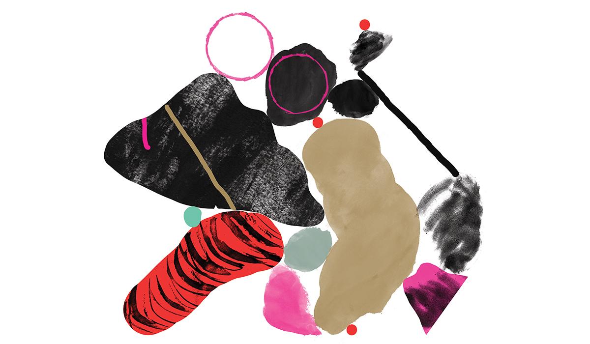 Illustrasjon med abstrakte former inntil hverandre i fargene rød, sort, lys brun, rosa og litt grå og turkis.