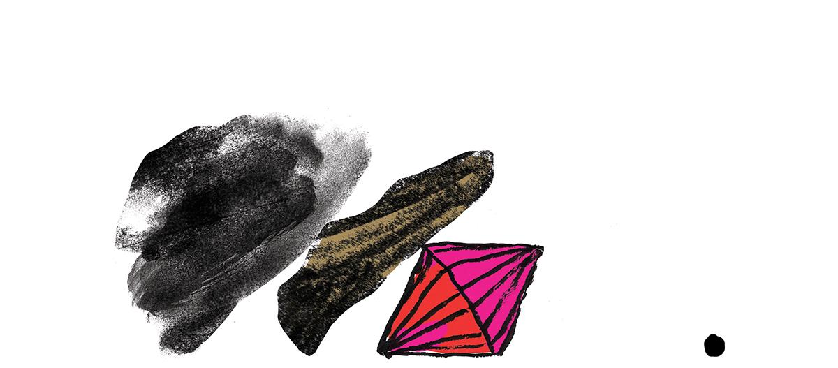 Abstrakte illustrerte figurer som kan minne om spillbrikker som har falt over ende. Fargene er sort, grå, rosa og rød.