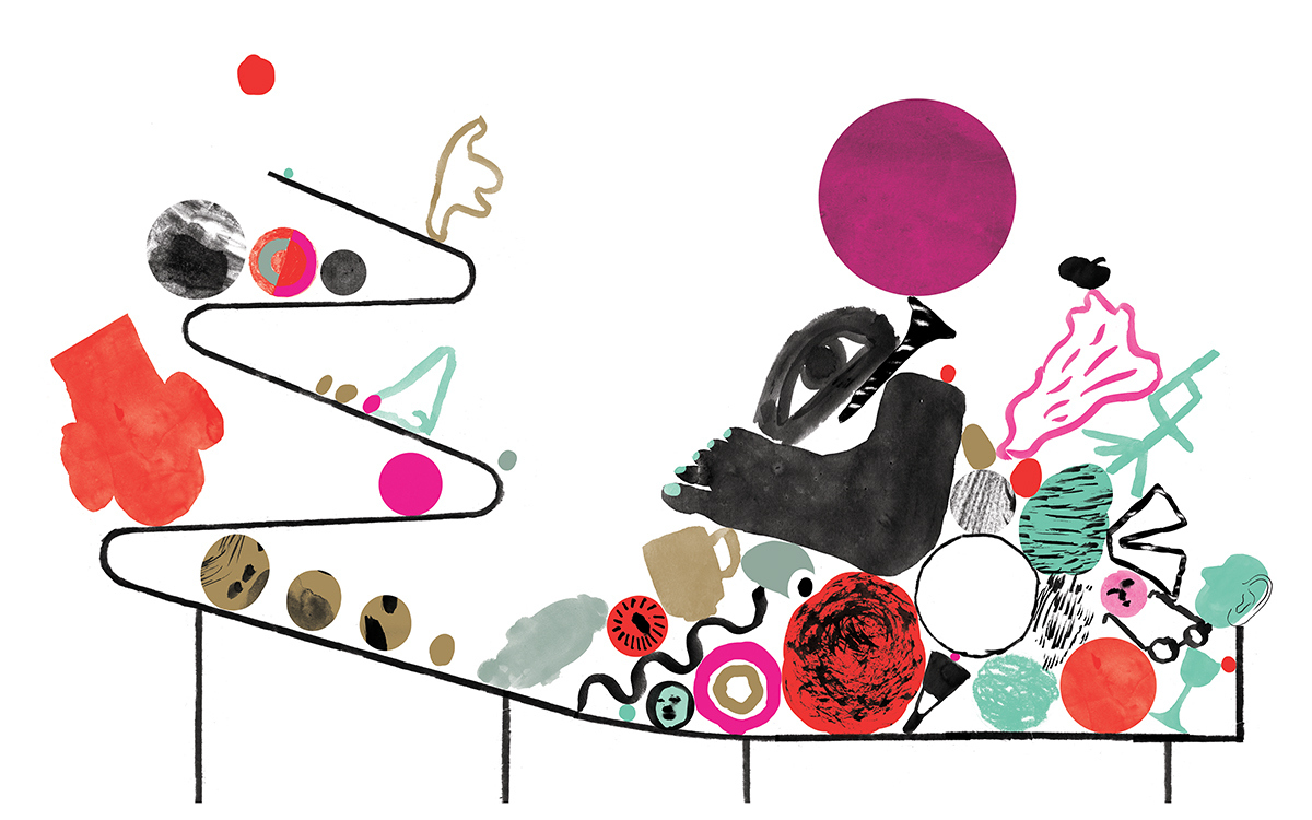 Illustrasjon med mange abstraherte figurer på noe som kan likne en rutsjebane. Fargene er turkis, sort, rosa, rød, lys brun, grå og hvit.