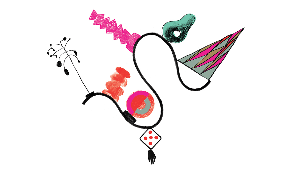 Illustrasjoner med abstrakte figurer. De likner litt på spillbrikker. Fargene er sort, rød, rosa, turkis og litt lysebrun.