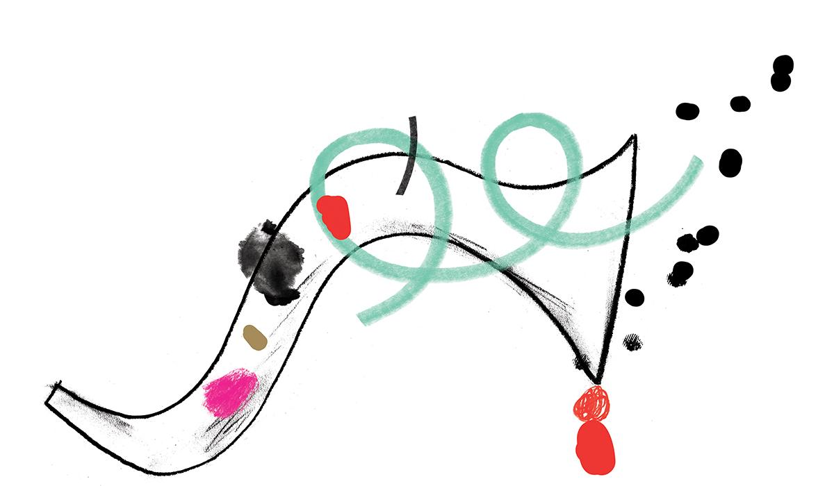 Abstrakt illustrasjon av noe som kan linke et horn i bølgeaktig form. Partier av rosa, sort, lysebrun, rød og turkis farge.