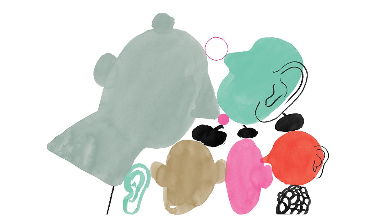 Illustrasjon av abstrakte hoder i ulike størrelser og i fargene rød, lysebrun, rosa, turkis, grå. De er plassert inntil hverandre. Man ser også ett turkist øre og det er små alpelue på tre av hodene.